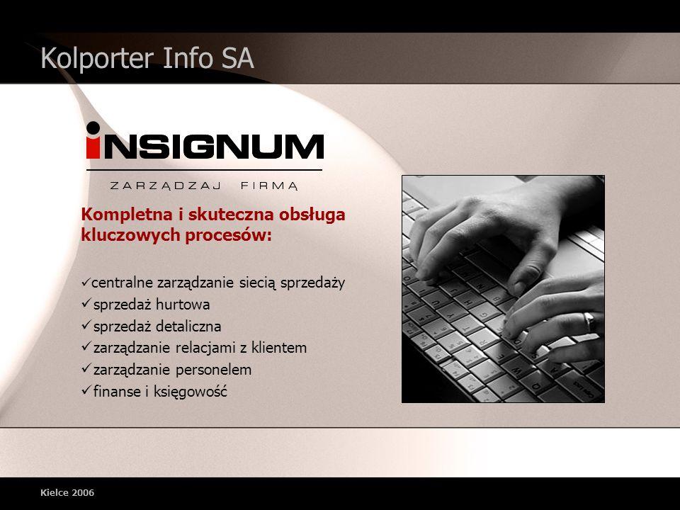 Kielce 2006 Kolporter Info SA Kompletna i skuteczna obsługa kluczowych procesów: centralne zarządzanie siecią sprzedaży sprzedaż hurtowa sprzedaż detaliczna zarządzanie relacjami z klientem zarządzanie personelem finanse i księgowość