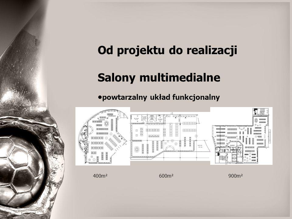 Od projektu do realizacji Salony multimedialne powtarzalny układ funkcjonalny 400m² 600m² 900m²