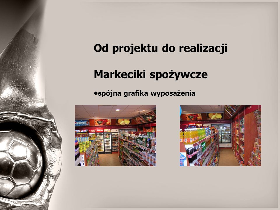 Od projektu do realizacji Markeciki spożywcze spójna grafika wyposażenia