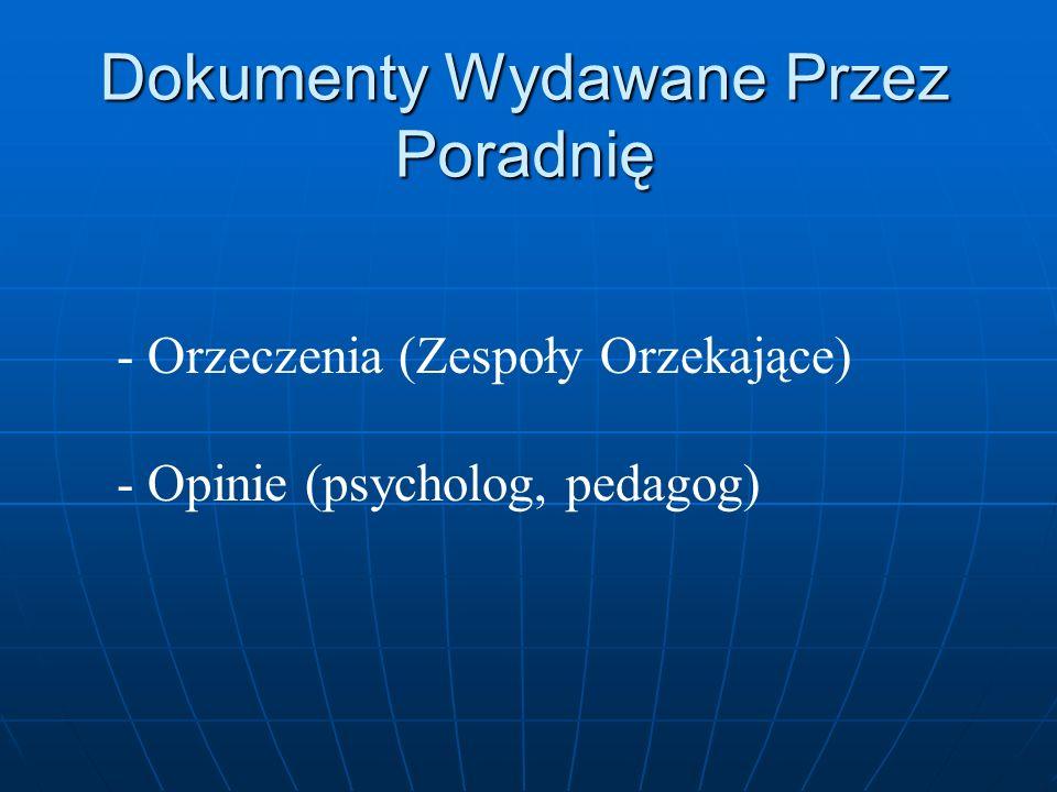 Dokumenty Wydawane Przez Poradnię - Orzeczenia (Zespoły Orzekające) - Opinie (psycholog, pedagog)