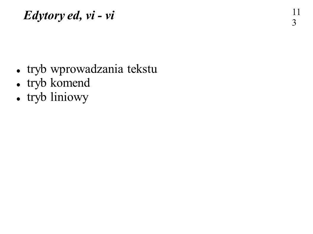 Edytory ed, vi - vi 113 tryb wprowadzania tekstu tryb komend tryb liniowy