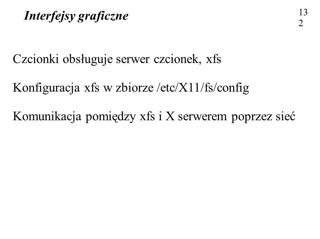 Interfejsy graficzne 132 Czcionki obsługuje serwer czcionek, xfs Konfiguracja xfs w zbiorze /etc/X11/fs/config Komunikacja pomiędzy xfs i X serwerem p