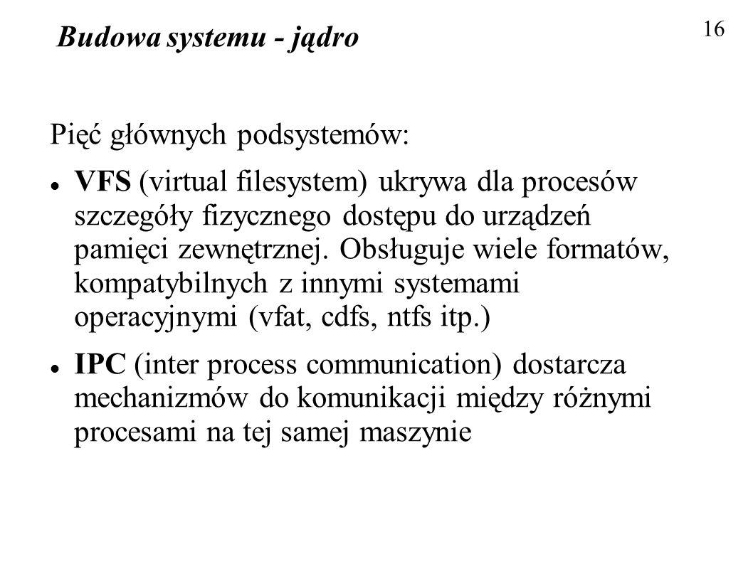 Budowa systemu - jądro Pięć głównych podsystemów: VFS (virtual filesystem) ukrywa dla procesów szczegóły fizycznego dostępu do urządzeń pamięci zewnęt