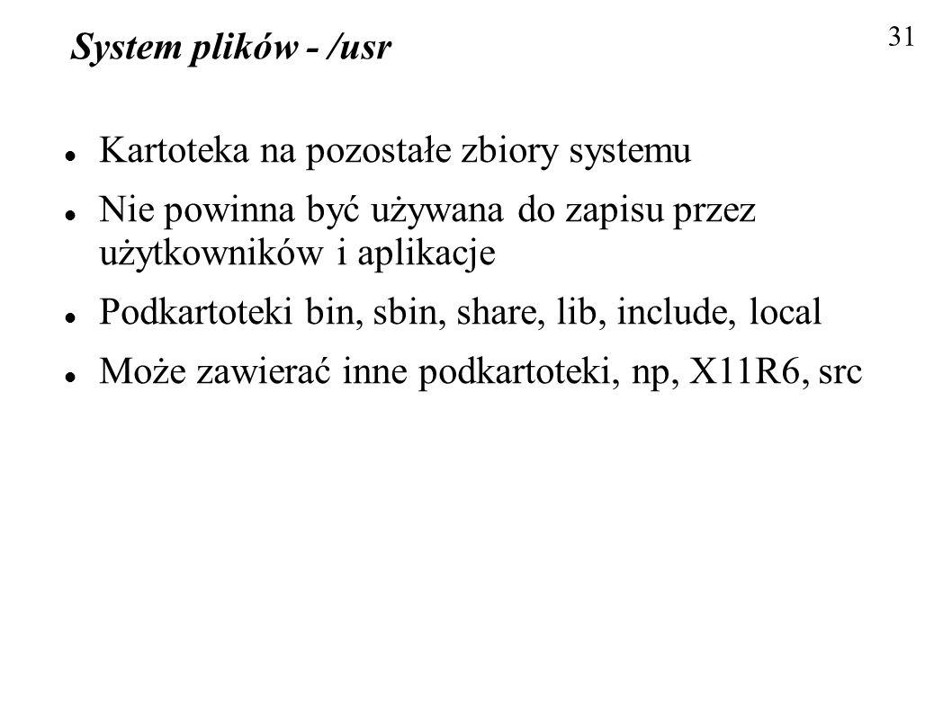 System plików - /usr Kartoteka na pozostałe zbiory systemu Nie powinna być używana do zapisu przez użytkowników i aplikacje Podkartoteki bin, sbin, sh