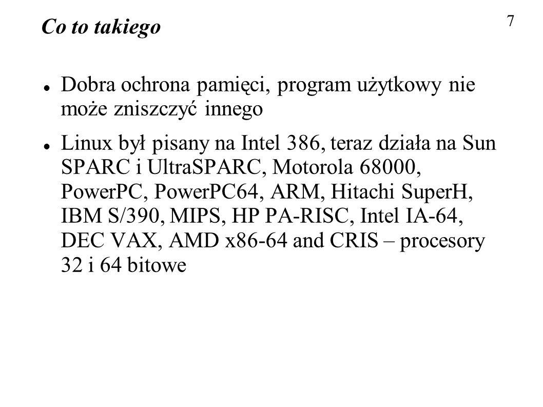 Co to takiego Dobra ochrona pamięci, program użytkowy nie może zniszczyć innego Linux był pisany na Intel 386, teraz działa na Sun SPARC i UltraSPARC,