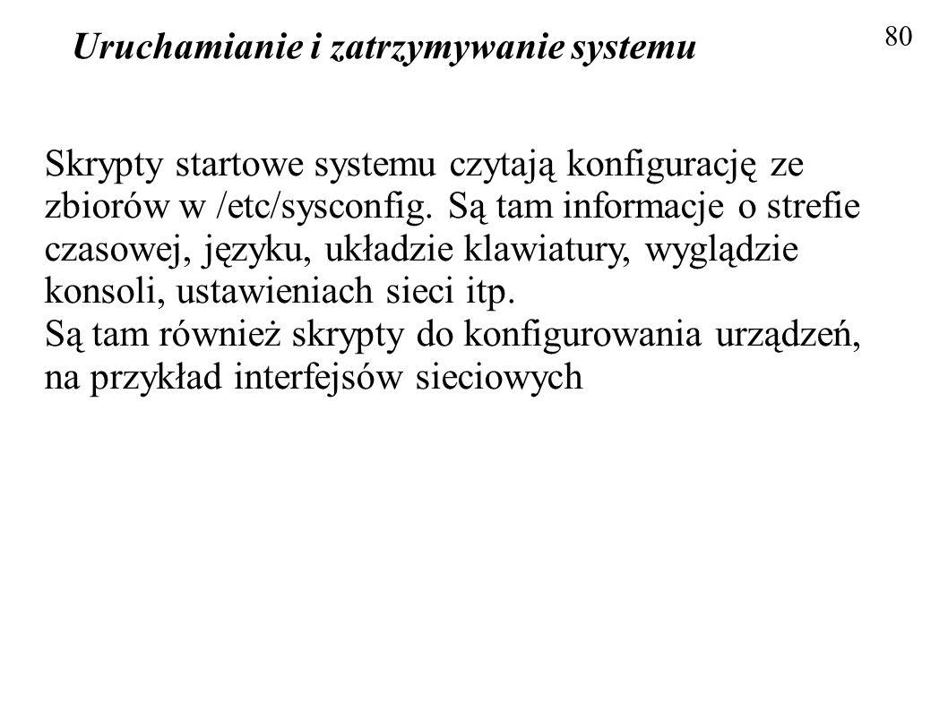 Uruchamianie i zatrzymywanie systemu 80 Skrypty startowe systemu czytają konfigurację ze zbiorów w /etc/sysconfig. Są tam informacje o strefie czasowe