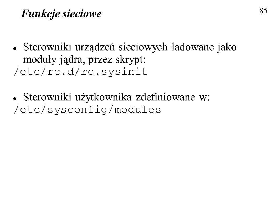 Funkcje sieciowe 85 Sterowniki urządzeń sieciowych ładowane jako moduły jądra, przez skrypt: /etc/rc.d/rc.sysinit Sterowniki użytkownika zdefiniowane