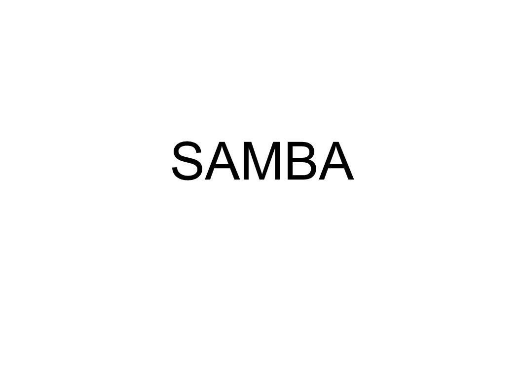 22 Zainstalować Linux, samba, samba-common /etc/samba/smb.conf: [global] workgroup = PROJEKTY security = SHARE [Projekty] path = /home/projekty read only = Yes guest ok = Yes Utworzyć kartotekę: mkdir /home/projekty root# chmod 755 /home/projekty /etc/hosts: 192.168.1.1server Uruchomić sambę: /etc/rc.d/init.d/smb restart (/etc/rc.d/rcX.d!) W Windows skonfigurować IP, ustawić grupę roboczą PROJEKTY.