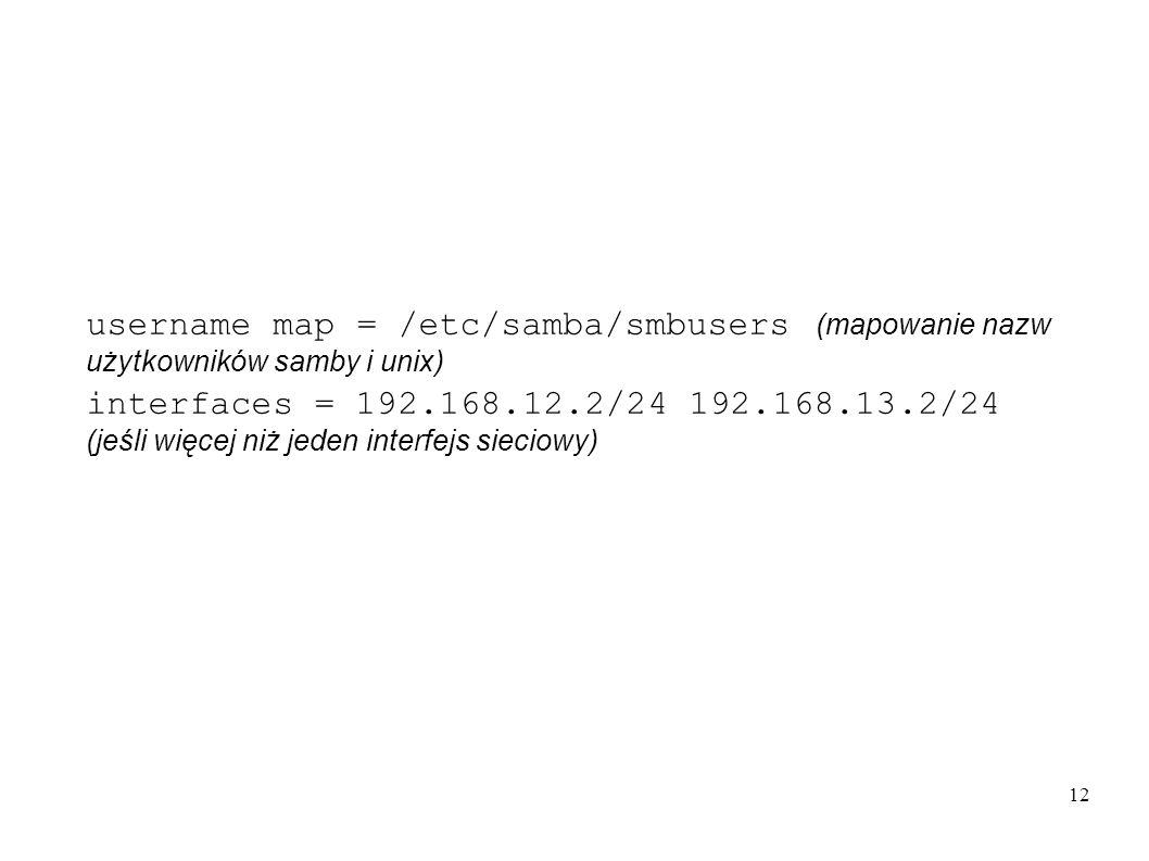 12 username map = /etc/samba/smbusers (mapowanie nazw użytkowników samby i unix) interfaces = 192.168.12.2/24 192.168.13.2/24 (jeśli więcej niż jeden