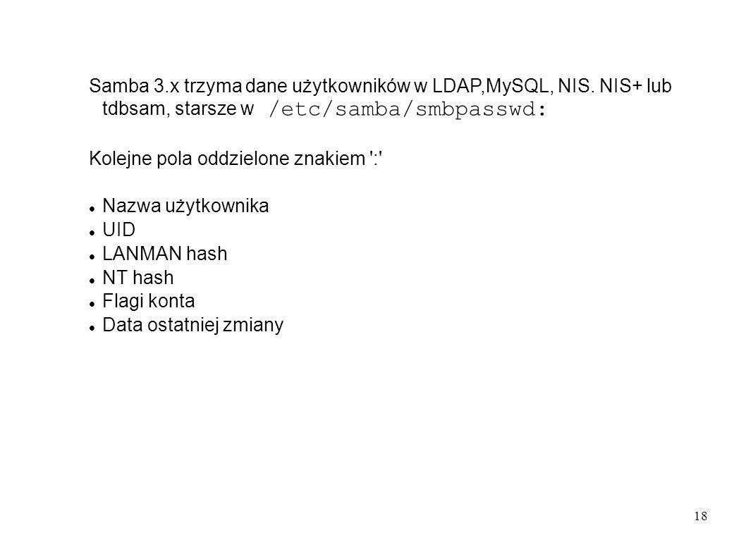 18 Samba 3.x trzyma dane użytkowników w LDAP,MySQL, NIS. NIS+ lub tdbsam, starsze w /etc/samba/smbpasswd: Kolejne pola oddzielone znakiem ':' Nazwa uż