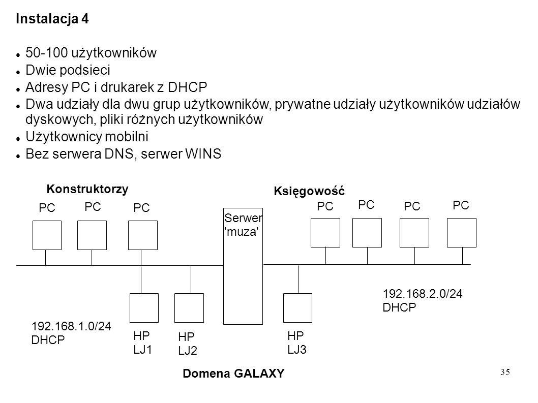 35 Instalacja 4 50-100 użytkowników Dwie podsieci Adresy PC i drukarek z DHCP Dwa udziały dla dwu grup użytkowników, prywatne udziały użytkowników udz