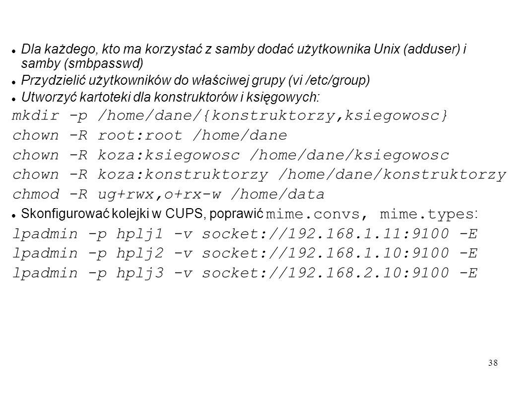 38 Dla każdego, kto ma korzystać z samby dodać użytkownika Unix (adduser) i samby (smbpasswd) Przydzielić użytkowników do właściwej grupy (vi /etc/gro