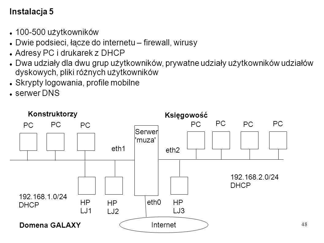 48 Instalacja 5 100-500 użytkowników Dwie podsieci, łącze do internetu – firewall, wirusy Adresy PC i drukarek z DHCP Dwa udziały dla dwu grup użytkow