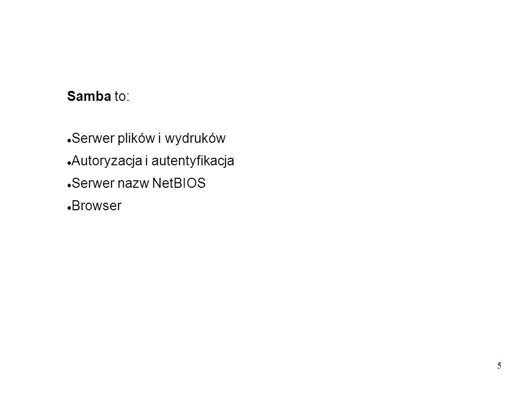 56 Utworzyć użytkownika root, grupy użytkowników, zamapować grupy, utworzyć kartoteki robocze jak w poprzedniej instalacji Utworzyć kartoteki spoolingu i profili użytkowników: mkdir -p /var/spool/samba mkdir -p /var/lib/samba {netlogon/scripts,profiles} chown -R root:root /var/spool/samba chown -R root:root /var/lib/samba chmod a+rwxt /var/spool/samba chmod 2775 /var/lib/samba/profiles chgrp users /var/lib/samba/profiles Dla każdego użytkownika: mkdir /var/lib/samba/profiles/ username chown username :users /var/lib/samba/profiles/ username chmod ug+wrx,o+rx,-w /var/lib/samba/profiles/ username Utworzyć skrypt logowania, (Uwaga na CR/LF) /var/lib/samba/netlogon/scripts/logon.bat: net time \\diamond /set /yes net use h: /home net use p: \\diamond\apps