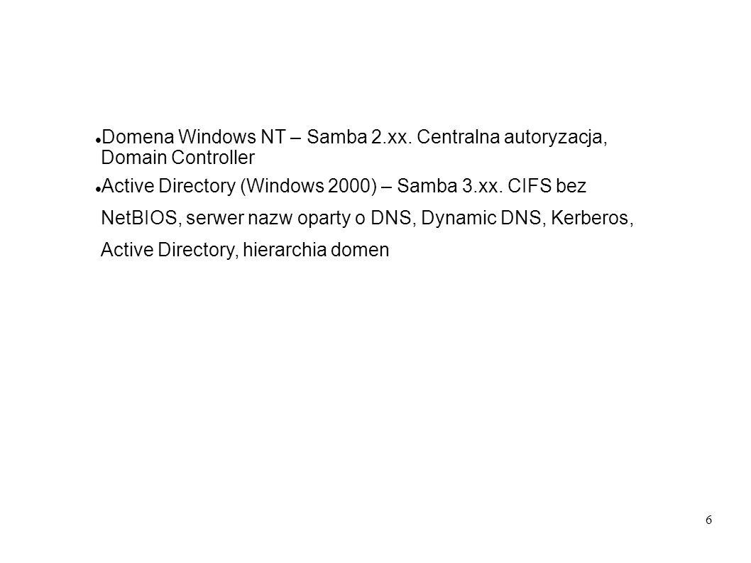 57 Skonfigurować serwer DHCP jak w instalacji 4, z globalnymi parametrami jak niżej: default-lease-time 86400; max-lease-time 172800; default-lease-time 86400; option ntp-servers 192.168.1.1; option domain-name abmas.biz ; option domain-name-servers 192.168.1.1, 192.168.2.1; option netbios-name-servers 192.168.1.1, 192.168.2.1; option netbios-node-type 8; ### Node type = Hybrid ### ddns-updates on; ### Dynamic DNS enabled ### ddns-update-style interim;