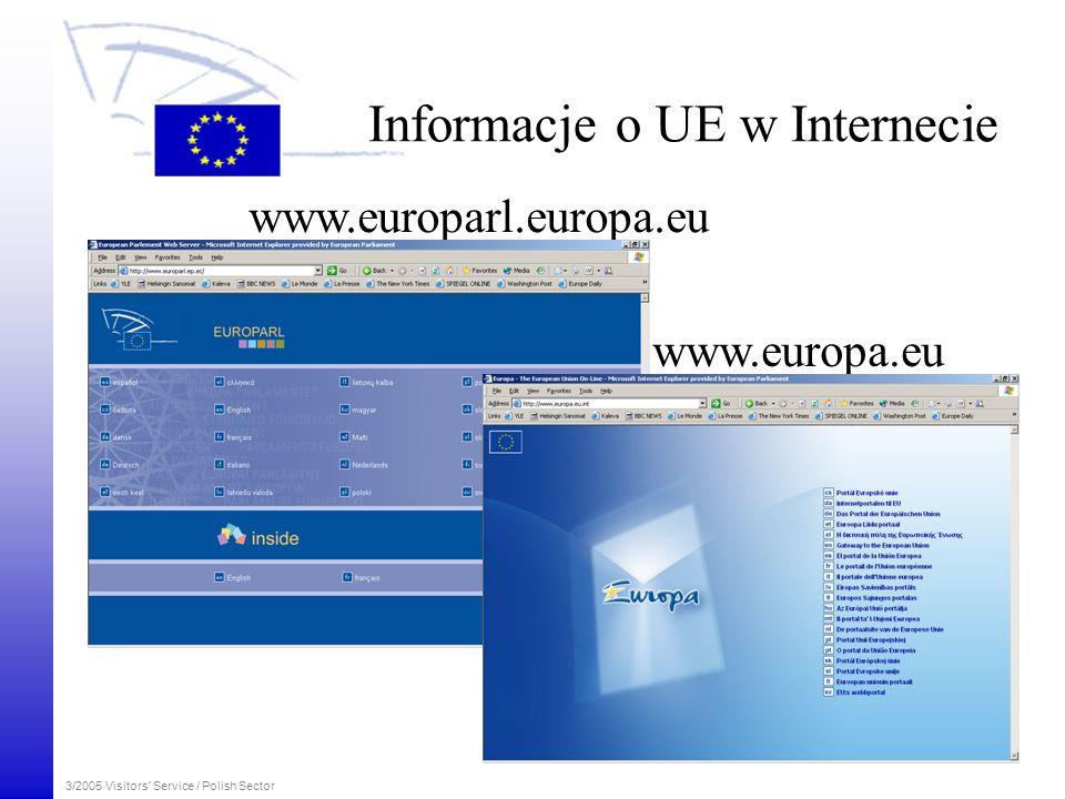 3/2005 Visitors´ Service / Polish Sector www.europarl.europa.eu www.europa.eu Informacje o UE w Internecie