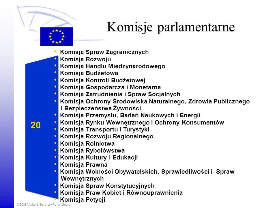 3/2005 Visitors´ Service / Polish Sector Praca Parlamentu POSIEDZENIA KOMISJI 18 tygodni w roku obrad komisji parlamentarnych w Brukseli POSIEDZENIA PLENARNE 12 posiedzeń w roku w Strasburgu 6 dodatkowych posiedzeń w Brukseli GRUPY POLITYCZNE 12 tygodni spotkań grup politycznych w Brukseli SEKRETARIAT Sekretariat Parlamentu Europejskiego znajduje się w Luksemburgu i Brukseli