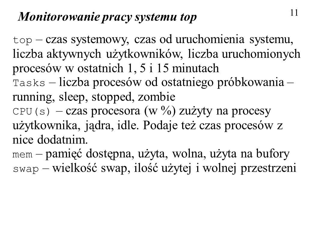 Monitorowanie pracy systemu top 11 top – czas systemowy, czas od uruchomienia systemu, liczba aktywnych użytkowników, liczba uruchomionych procesów w