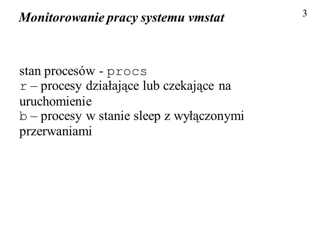 Monitorowanie pracy systemu vmstat 4 użycie pamięci – memory (domyślnie w kB) swpd – ilość pamięci zapisanej na dysku free – ilość wolnej pamięci fizycznej buff – ilość pamięci zajętej przez bufory