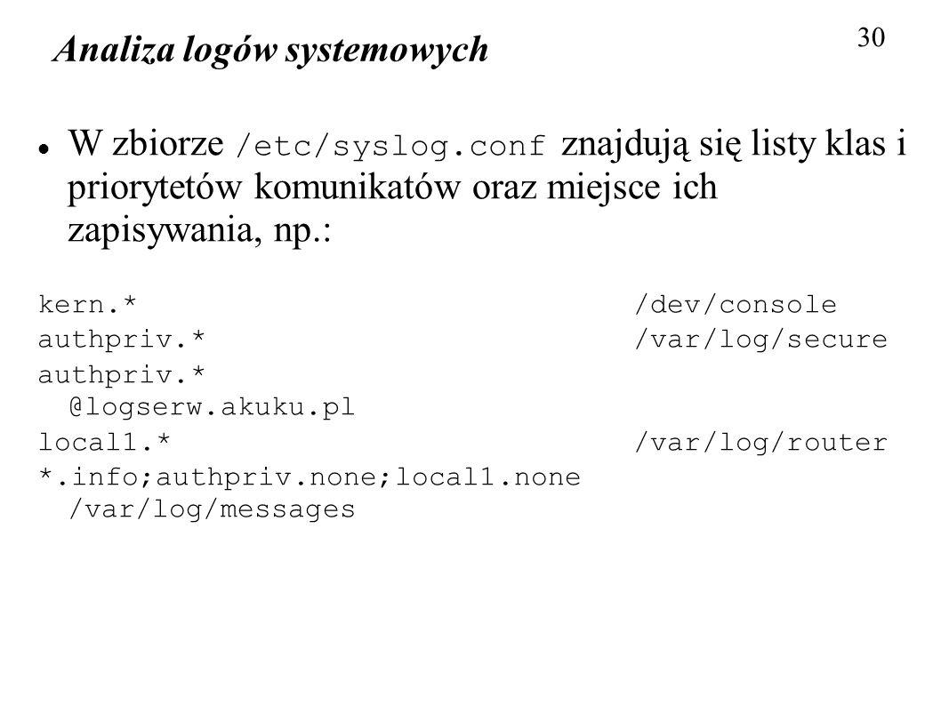Analiza logów systemowych 30 W zbiorze /etc/syslog.conf znajdują się listy klas i priorytetów komunikatów oraz miejsce ich zapisywania, np.: kern.* /d