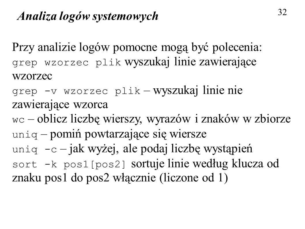 Analiza logów systemowych 32 Przy analizie logów pomocne mogą być polecenia: grep wzorzec plik wyszukaj linie zawierające wzorzec grep -v wzorzec plik