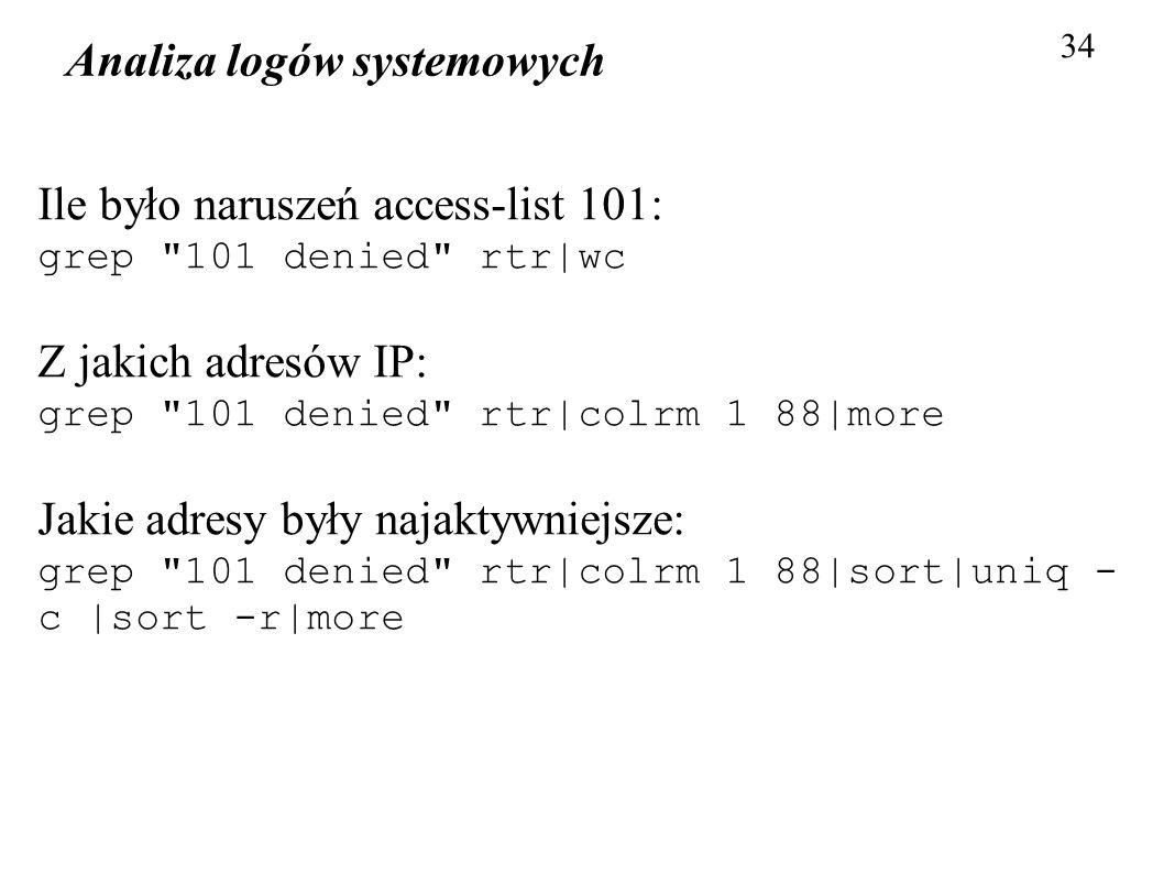 Analiza logów systemowych 34 Ile było naruszeń access-list 101: grep