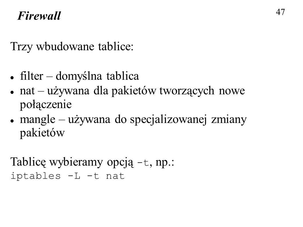 Firewall 47 Trzy wbudowane tablice: filter – domyślna tablica nat – używana dla pakietów tworzących nowe połączenie mangle – używana do specjalizowane
