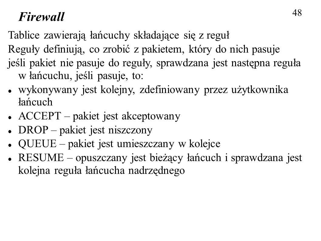 Firewall 48 Tablice zawierają łańcuchy składające się z reguł Reguły definiują, co zrobić z pakietem, który do nich pasuje jeśli pakiet nie pasuje do
