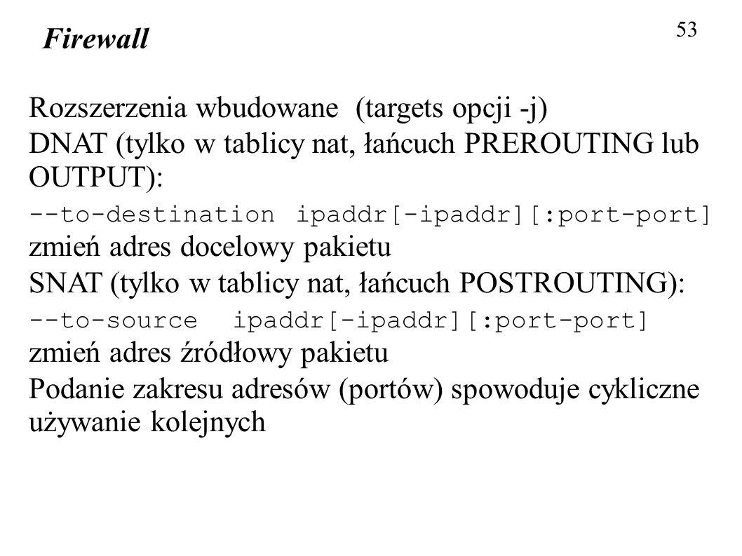 Firewall 53 Rozszerzenia wbudowane (targets opcji -j) DNAT (tylko w tablicy nat, łańcuch PREROUTING lub OUTPUT): --to-destination ipaddr[-ipaddr][:por