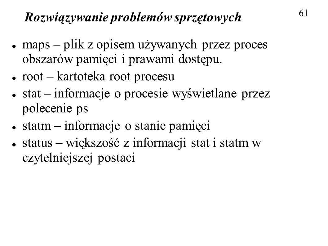 Rozwiązywanie problemów sprzętowych 61 maps – plik z opisem używanych przez proces obszarów pamięci i prawami dostępu. root – kartoteka root procesu s