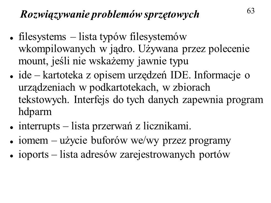 Rozwiązywanie problemów sprzętowych 63 filesystems – lista typów filesystemów wkompilowanych w jądro. Używana przez polecenie mount, jeśli nie wskażem