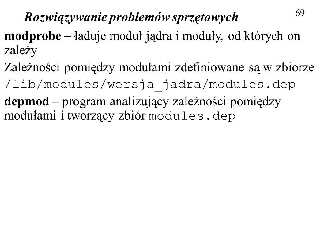 Rozwiązywanie problemów sprzętowych 69 modprobe – ładuje moduł jądra i moduły, od których on zależy Zależności pomiędzy modułami zdefiniowane są w zbi