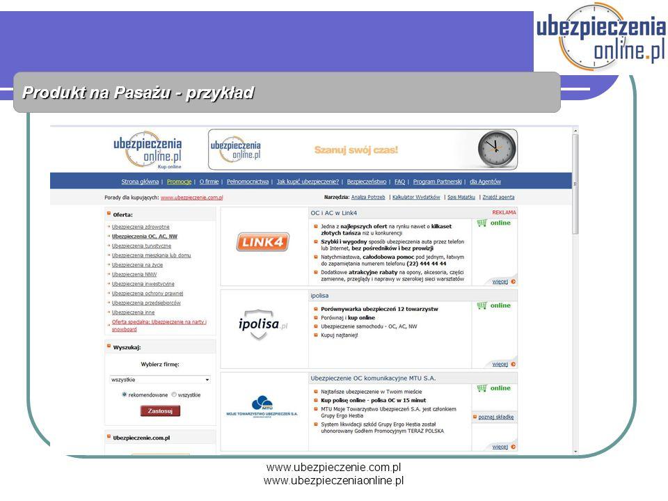 www.ubezpieczenie.com.pl www.ubezpieczeniaonline.pl Produkt na Pasażu - przykład