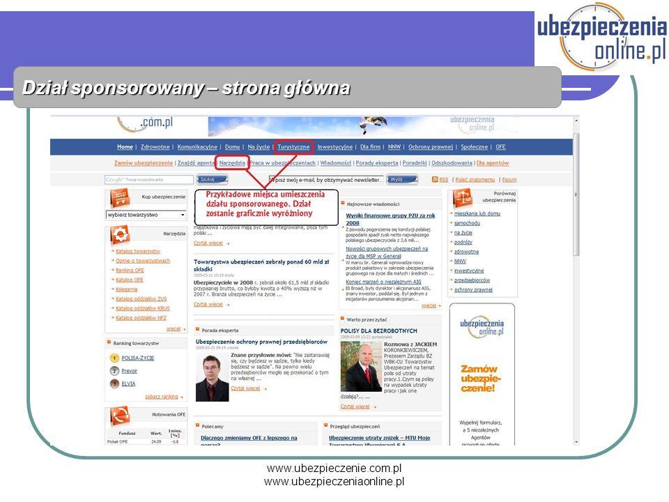 www.ubezpieczenie.com.pl www.ubezpieczeniaonline.pl Dział sponsorowany – strona główna