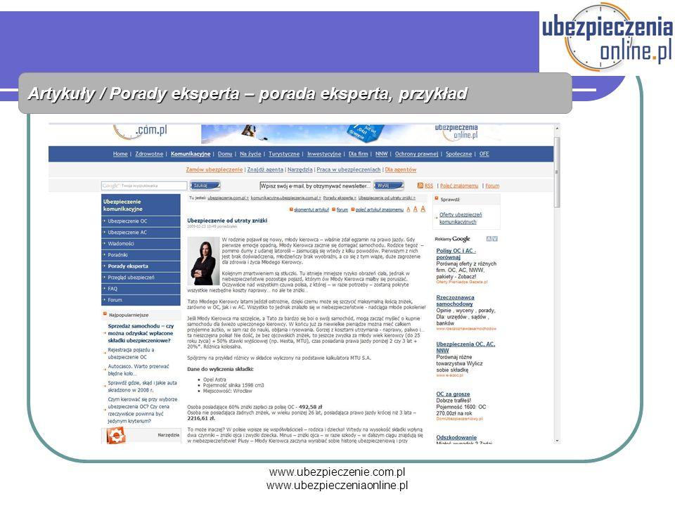 www.ubezpieczenie.com.pl www.ubezpieczeniaonline.pl Artykuły / Porady eksperta – porada eksperta, przykład