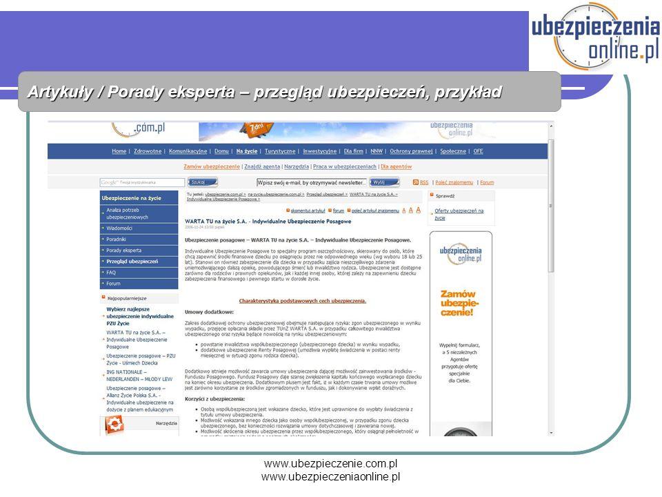 www.ubezpieczenie.com.pl www.ubezpieczeniaonline.pl Artykuły / Porady eksperta – przegląd ubezpieczeń, przykład