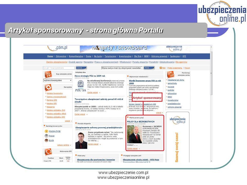 www.ubezpieczenie.com.pl www.ubezpieczeniaonline.pl Artykuł sponsorowany - strona główna Portalu