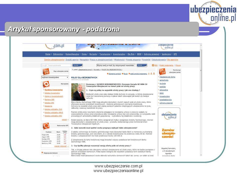 www.ubezpieczenie.com.pl www.ubezpieczeniaonline.pl Artykuł sponsorowany - podstrona