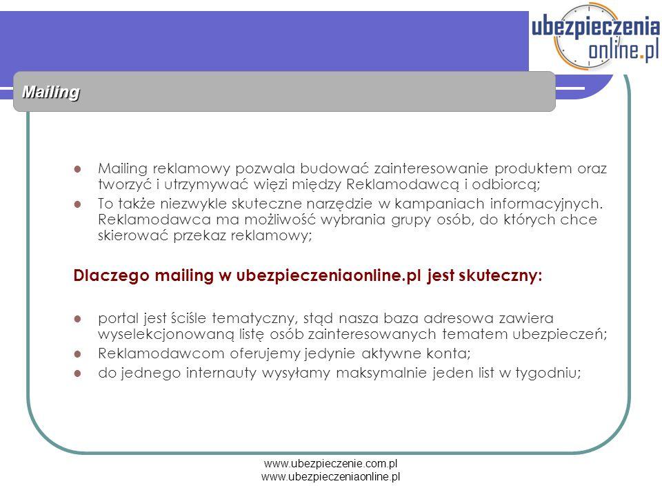 www.ubezpieczenie.com.pl www.ubezpieczeniaonline.pl Mailing Mailing reklamowy pozwala budować zainteresowanie produktem oraz tworzyć i utrzymywać więz
