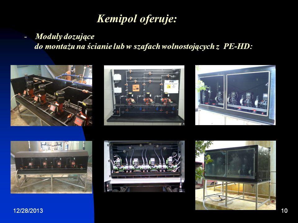 12/28/201310 -Moduły dozujące do montażu na ścianie lub w szafach wolnostojących z PE-HD: Kemipol oferuje: