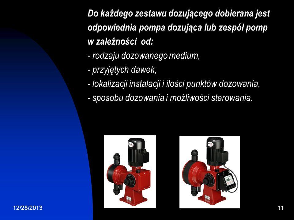 12/28/201311 Do każdego zestawu dozującego dobierana jest odpowiednia pompa dozująca lub zespół pomp w zależności od: - rodzaju dozowanego medium, - przyjętych dawek, - lokalizacji instalacji i ilości punktów dozowania, - sposobu dozowania i możliwości sterowania.