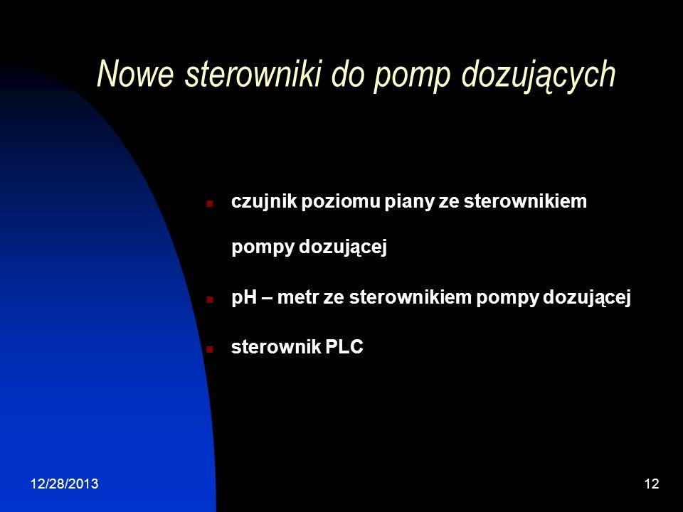 12/28/201312 Nowe sterowniki do pomp dozujących czujnik poziomu piany ze sterownikiem pompy dozującej pH – metr ze sterownikiem pompy dozującej sterownik PLC