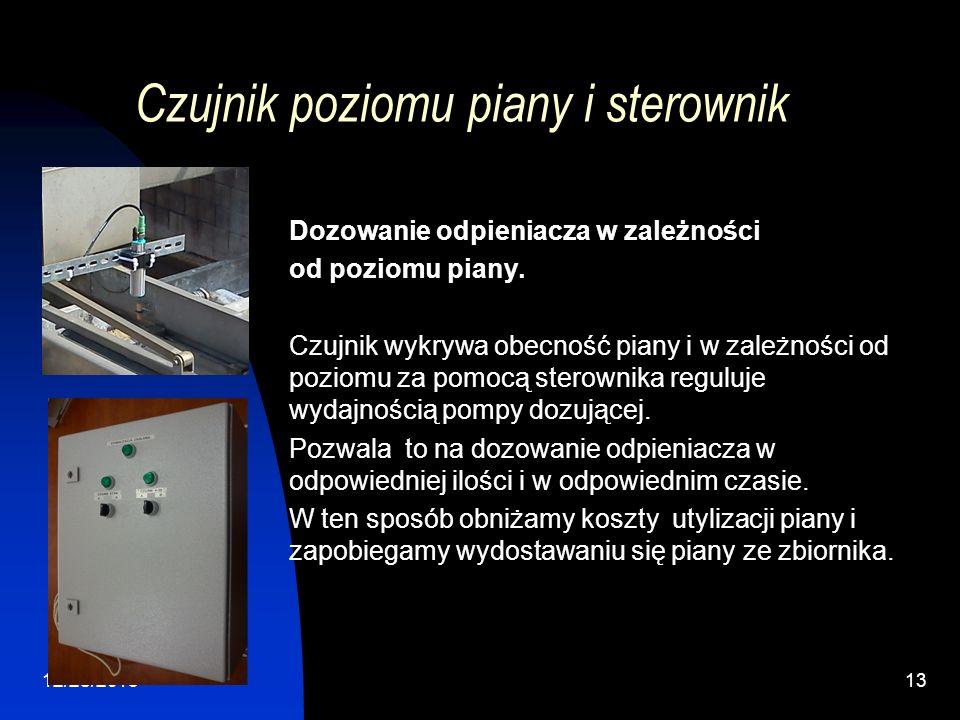 12/28/201313 Czujnik poziomu piany i sterownik Dozowanie odpieniacza w zależności od poziomu piany. Czujnik wykrywa obecność piany i w zależności od p