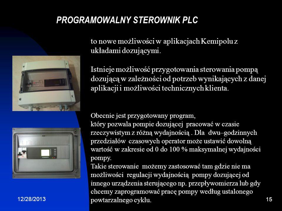 12/28/2013 15 PROGRAMOWALNY STEROWNIK PLC to nowe możliwości w aplikacjach Kemipolu z układami dozującymi. Istnieje możliwość przygotowania sterowania