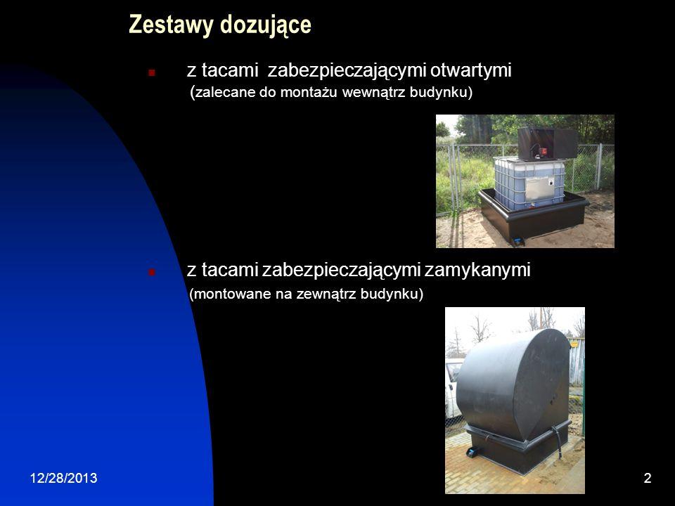 12/28/20132 Zestawy dozujące z tacami zabezpieczającymi otwartymi ( zalecane do montażu wewnątrz budynku) z tacami zabezpieczającymi zamykanymi (monto