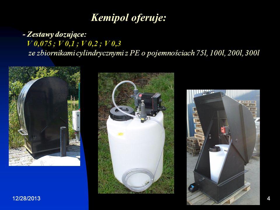 12/28/20134 - Zestawy dozujące: V 0,075 ; V 0,1 ; V 0,2 ; V 0,3 ze zbiornikami cylindrycznymi z PE o pojemnościach 75l, 100l, 200l, 300l Kemipol oferuje: