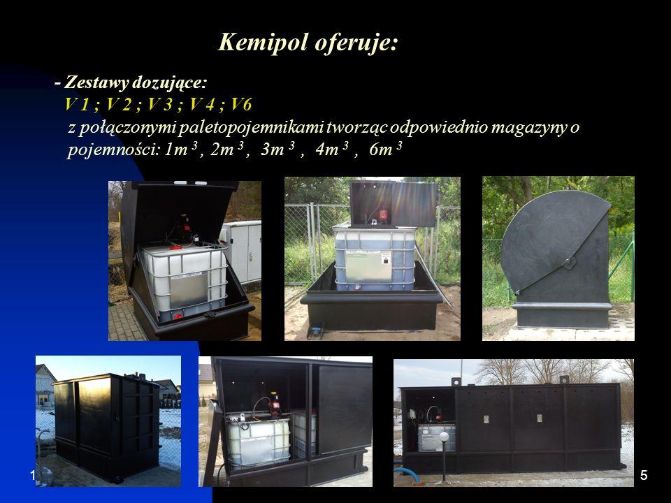 12/28/20135 - Zestawy dozujące: V 1 ; V 2 ; V 3 ; V 4 ; V6 z połączonymi paletopojemnikami tworząc odpowiednio magazyny o pojemności: 1m 3, 2m 3, 3m 3, 4m 3, 6m 3 Kemipol oferuje: