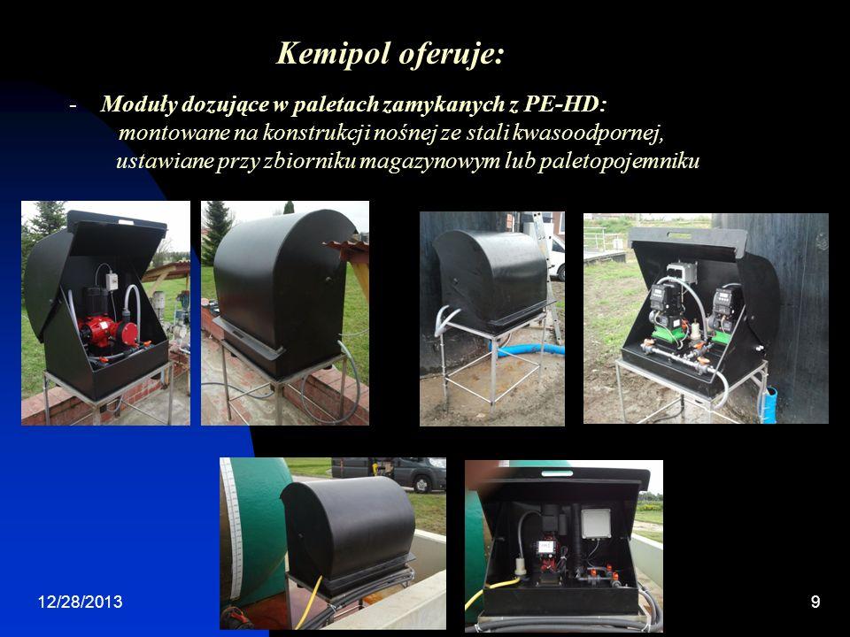 12/28/20139 -Moduły dozujące w paletach zamykanych z PE-HD: montowane na konstrukcji nośnej ze stali kwasoodpornej, ustawiane przy zbiorniku magazynowym lub paletopojemniku Kemipol oferuje: