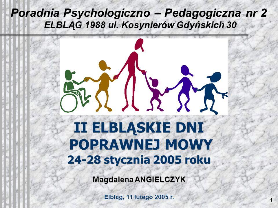 1 Poradnia Psychologiczno – Pedagogiczna nr 2 ELBLĄG 1988 ul.