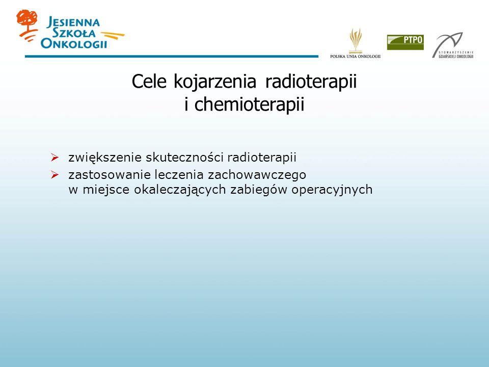 Teoretyczne przesłanki dla kojarzenia radioterapii i chemioterapii współdziałanie przestrzenne niezależne zabijanie różnych klonów komórek nowotworu promieniouczulające działanie niektórych cytostatyków ochrona zdrowych tkanek przed napromienianiem Peckham i Steel